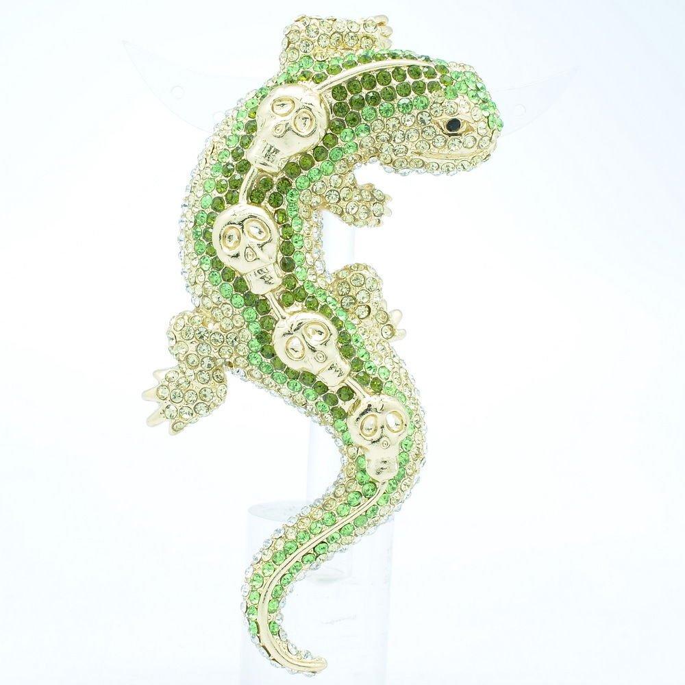 Skull Lizard Gecko Brooch Broach Pin W/ Green Rhinestone Crystals FA3173