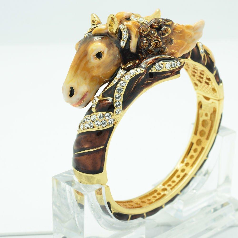 Enamel Steed Horse Bracelet Bangle Cuff Rhinestone Crystal Women's Jewelry 2230L
