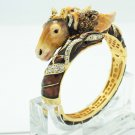Enamel Steed Horse Bracelet Bangle Cuff Rhinestone Crystal Women's Jewelry 2230L