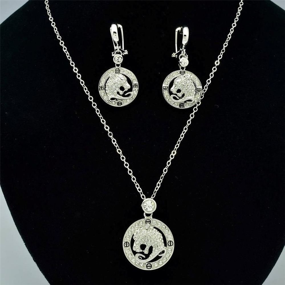 Leopard Panther Head in Loop Necklace Earring Set Swarovski Crystals