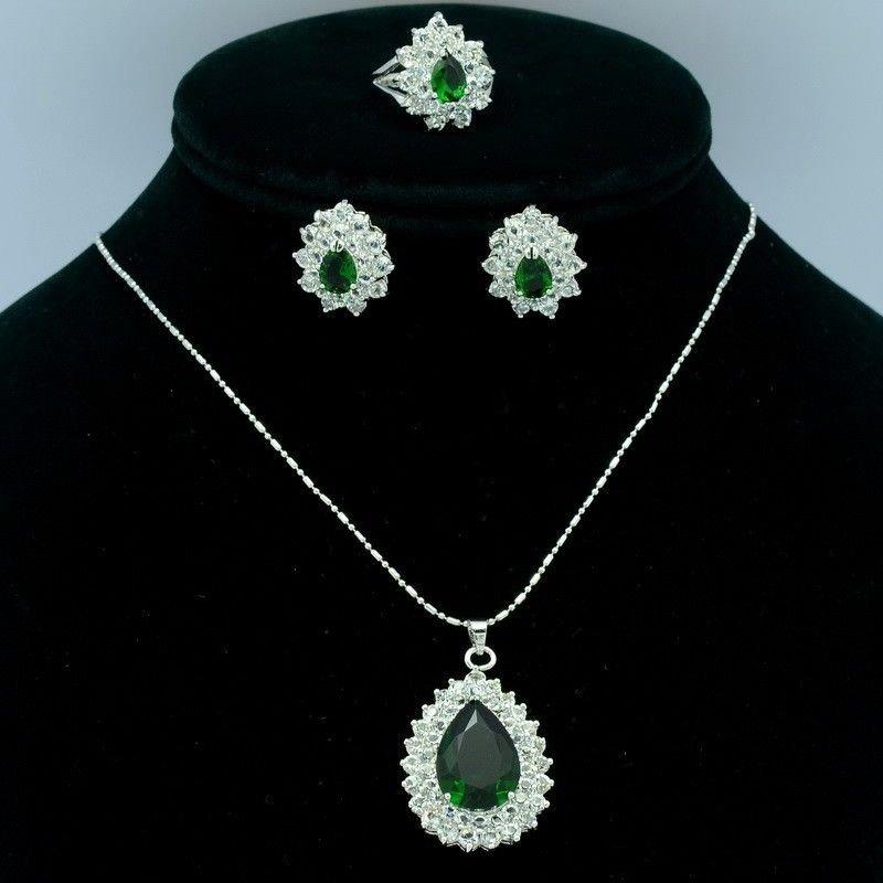 Swarovski Crystals Hi-Quality Flower Necklace Earring Ring Set W/ Green Zircon