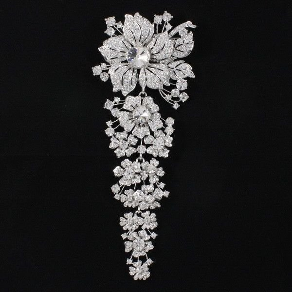 "Rhinestone Crystals Long Clear Flower Brooch Broach Pin 7.9"" Wedding 4704"
