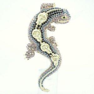 Skull Purple Lizard Gecko Brooch Broach Pin for Women Rhinestone Crystals FA3173