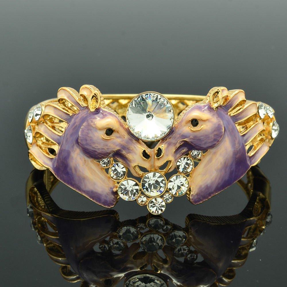 2 Purple Enamel Horses Bracelet Bangle Women's Jewelry Rhinestone Crystals 2232L