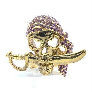 VTG Style Pirate Skeleton Skull Ring Sz Adjustable Purple Swarovski Crystals
