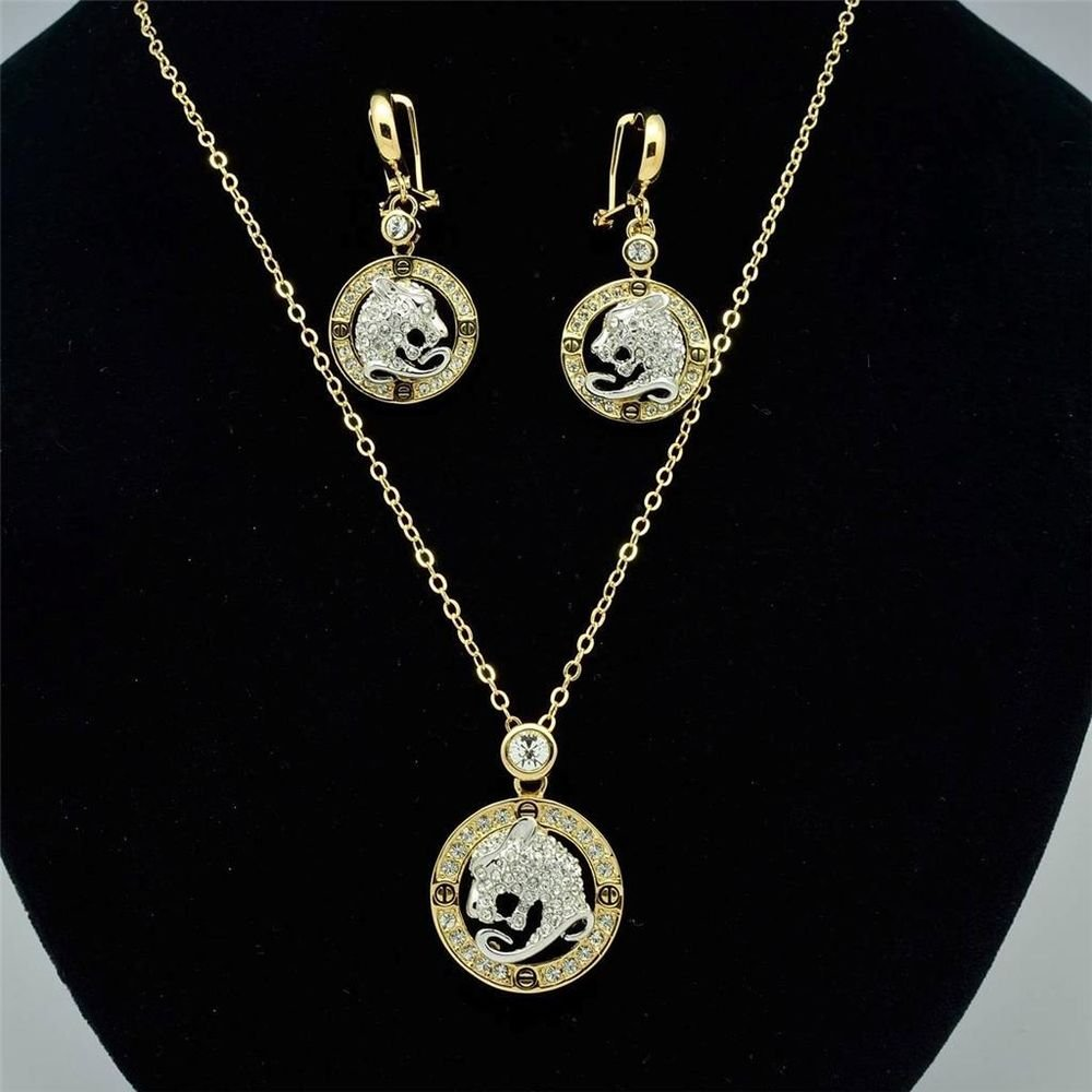 Gold Tone Leopard Panther Head in Loop Necklace Earring Set Swarovski Crystals