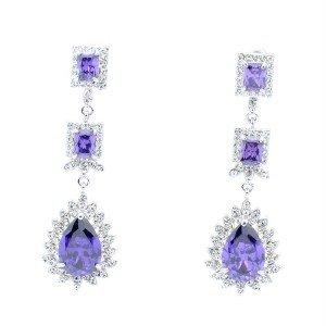 Purple Zircon Dangle Pierced Flower Earring Swaroski Crystals 10674