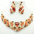 Cute Flower Necklace Earring Set Red Rhinestone Crystals For Spring Jewelry 6103