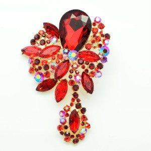 Chic Drop Red Rhinestone Crystals Dangle Flower Brooch Pin 2271