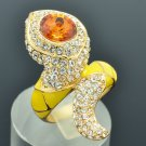 New Swarovski Crystals Yellow Enamel Animal Snake Cocktail Ring Size 7# SRA2173