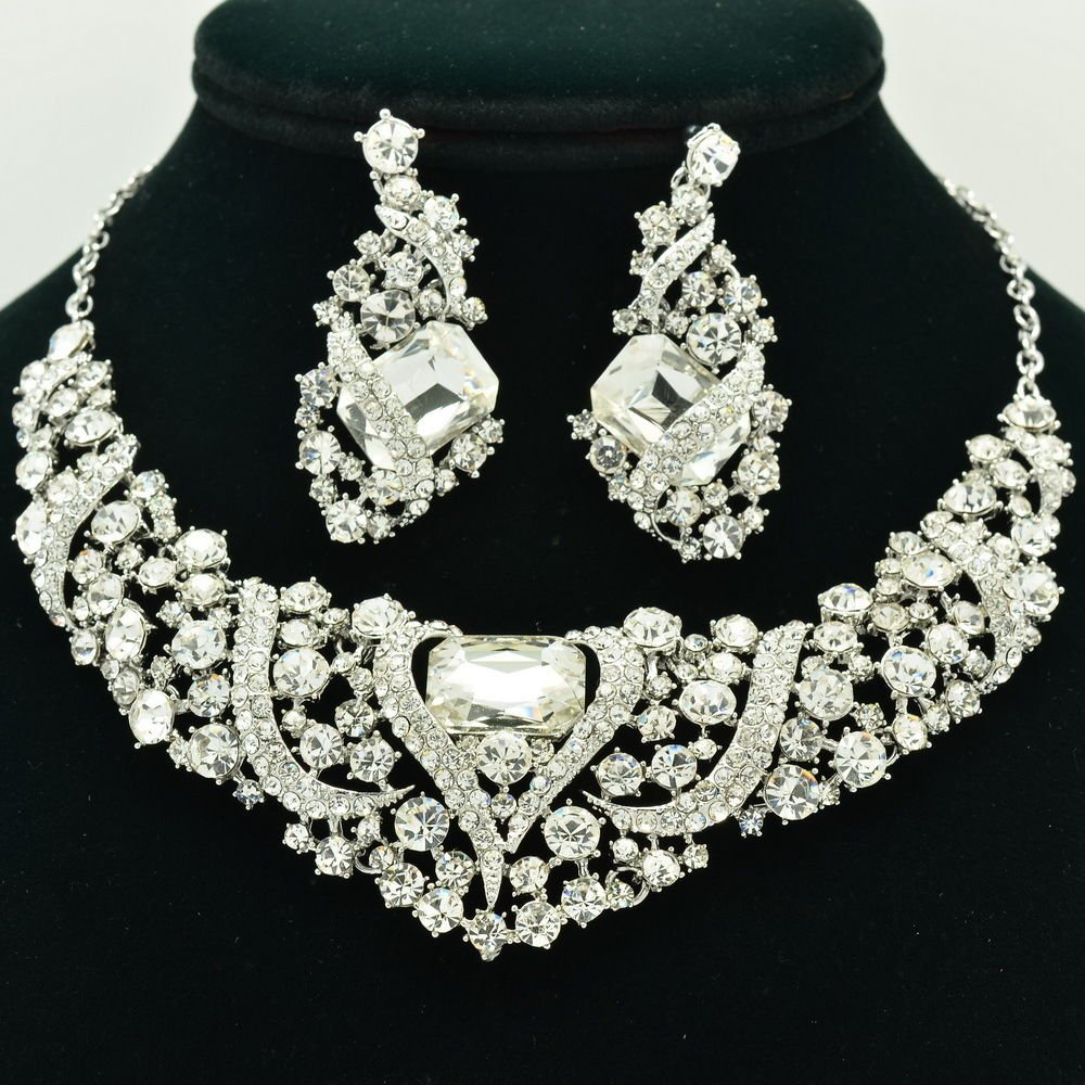 Flower Necklace Earring Set Clear Rhinestone Crystals For Spring Jewelry 6103