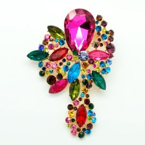 Chic Drop Multi-Color Rhinestone Crystals Dangle Flower Brooch Pin 2271