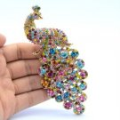 "4.9"" Peacock Bird Brooch Pin Multi Rhinestone Crystal Peafowl"