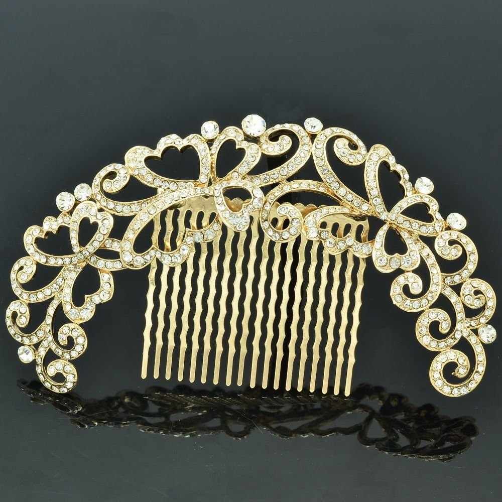 Party Hair Jewelry Graceful Flower Hair Comb Rhinestone Crystal Gold Tone XBY073