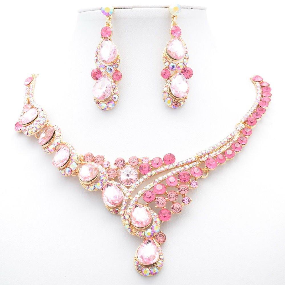 Women Party Jewelry Rhinestone Crystal Teardrop Flower Necklace Earring Set 2830