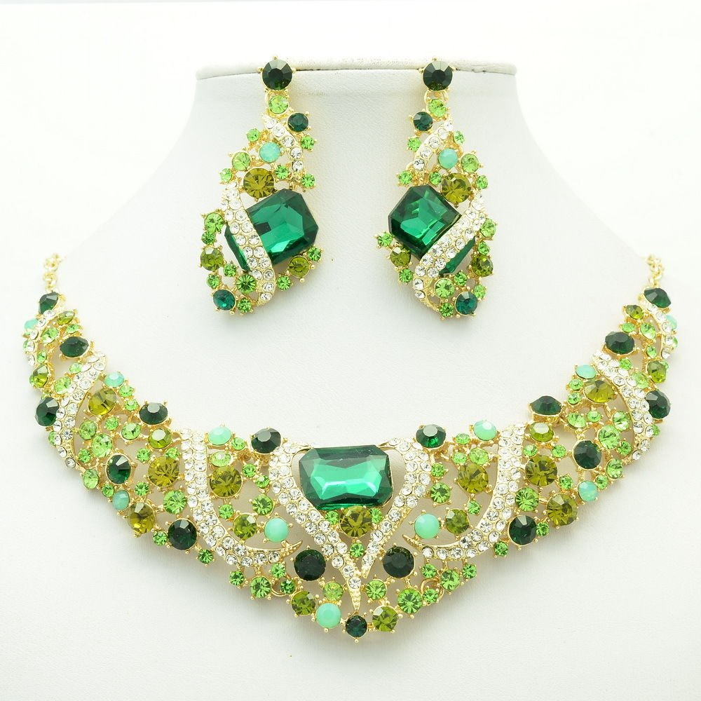 Flower Necklace Earring Set Green Rhinestone Crystals For Spring Jewelry 6103