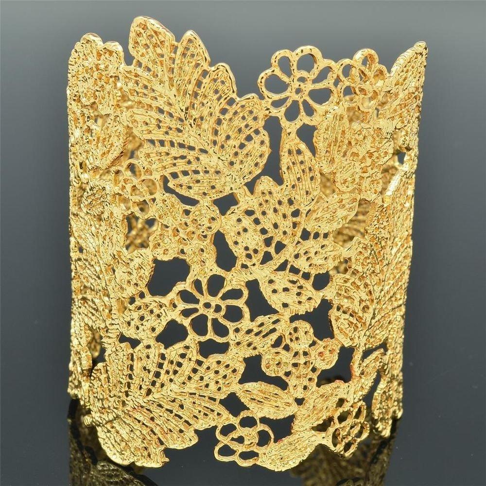 High Quality Beauty Gold Tone Multi Flower Leaf Bracelet Bangle Cuff W/ SKA2258M