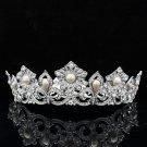 Hi-Q Swarovski Crystals Pearls Flower Tiara Crown Wedding Bridal Jewelry SHA8647