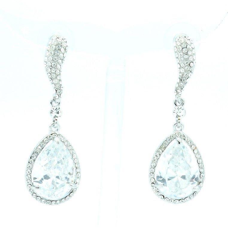 Super Dangle Women Jewelry Clear Zircon Pierced Earring Swarovski Crystals 10102