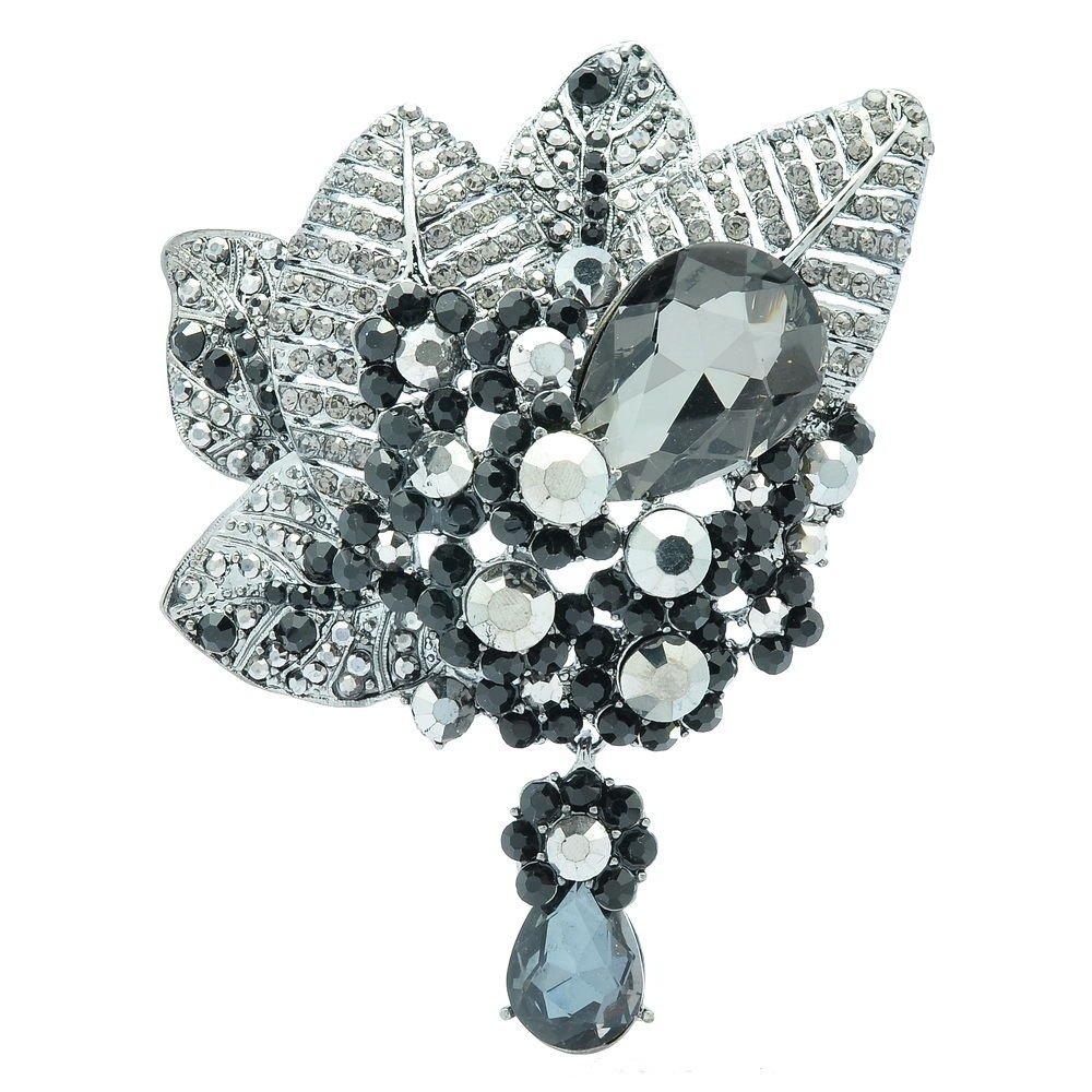 Black Drop Leaf Floral Flower Brooch Broach Pin Women's Rhinestone Crystals 6408