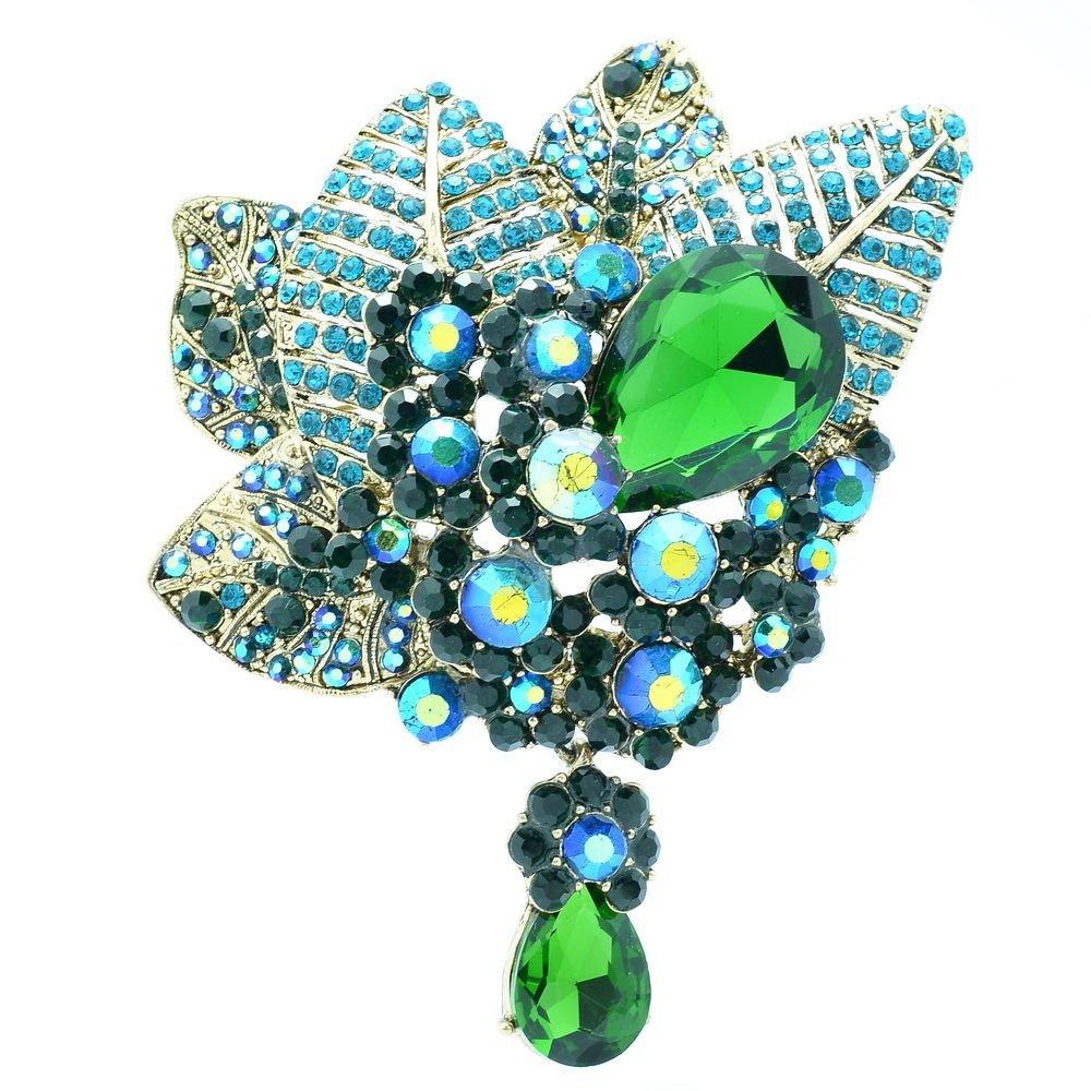 Bouquet Leaf Flower Brooch Broach Pin W/ Drop Green Rhinestone Crystals 6408