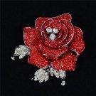 "Charming Women Red Rose Flower Brooch Broach Pin Rhinestone Crystal 2.1"" FB1077"