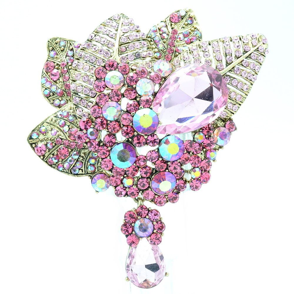 Glaring Drop Pink Rhinestone Crystals Leaf Floral Flower Brooch Broach Pins 6408