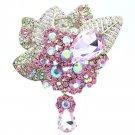 Glaring Drop Pink Rhinestone Crystals Leaf Floral Flower Brooch Broach Pins 6408