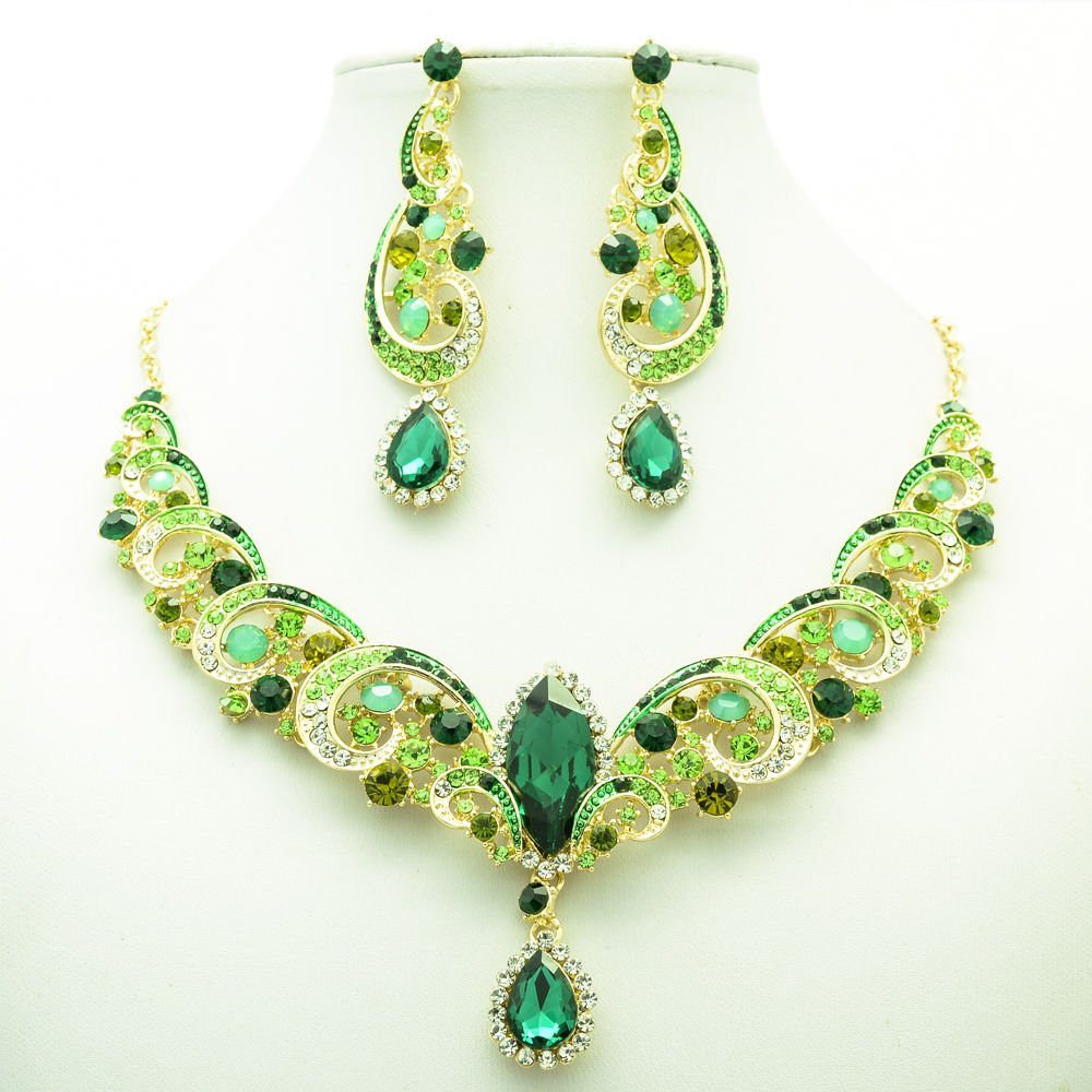 Prom Party Green Rhinestone Crystal Flower Necklace Earring Jewelry Sets 6471