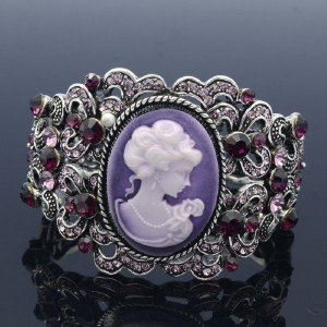 Vintage Style Rhinestone Crystals Purple Relief Bracelet Bangle