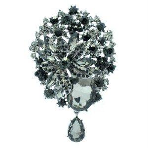 Chic Black Leaf Flower Brooch Broach Pin Women's Jewelry Rhinestone Crystal 6022