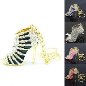 Swarovski Crystals New Cute Fashion High-Heel Shoe Key Chain Key Ring 5 Colors