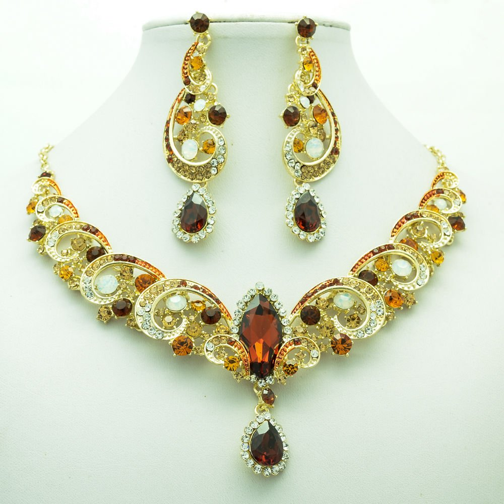 Prom Party Brown  Rhinestone Crystal  Flower Necklace Earring Jewelry Sets 6471