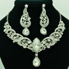 Prom Party Clear Rhinestone Crystal Flower Necklace Earring Jewelry Sets 6471