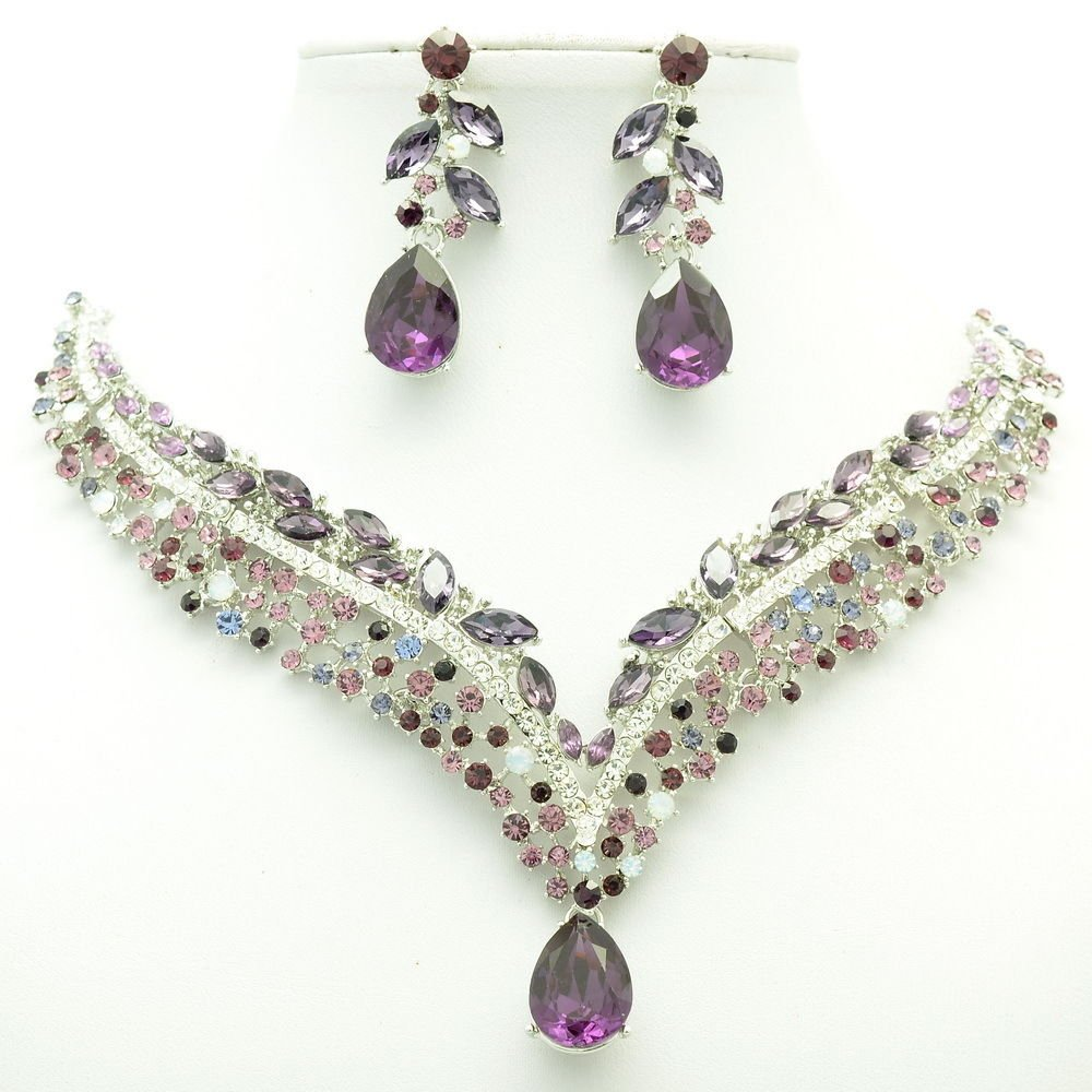 New Design Purple Tear Drop Flower Necklace Earring Set Rhinestone Crystals 6116