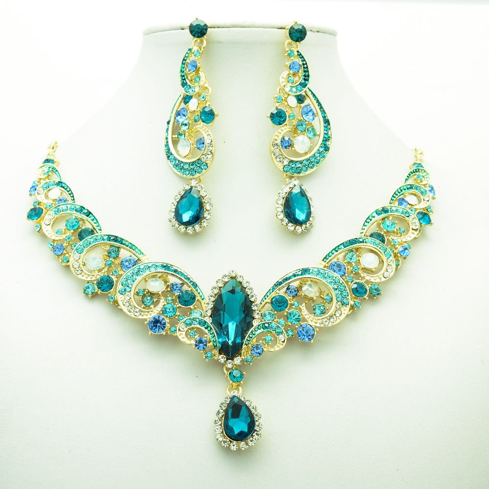 Prom Party Blue Rhinestone Crystal Flower Necklace Earring Jewelry Sets 6471