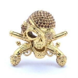 Swarovski Crystals VTG Style Pistol Skeleton Skull Cocktail Ring Sz Adjustable