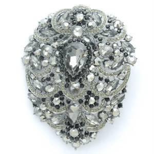 "Rhinestone Crystals Big Teardrop Black Pendant Flower Brooch Pin 4.9"""