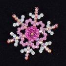 "Chic Blink Pink Snow Snowflake Brooch Broach Pin 1.6""Swarovski Crystals FB0210"