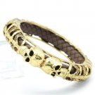 Vintage Style Swarovski Crystals Brown Leather Skull Bracelet Bangle Cuff