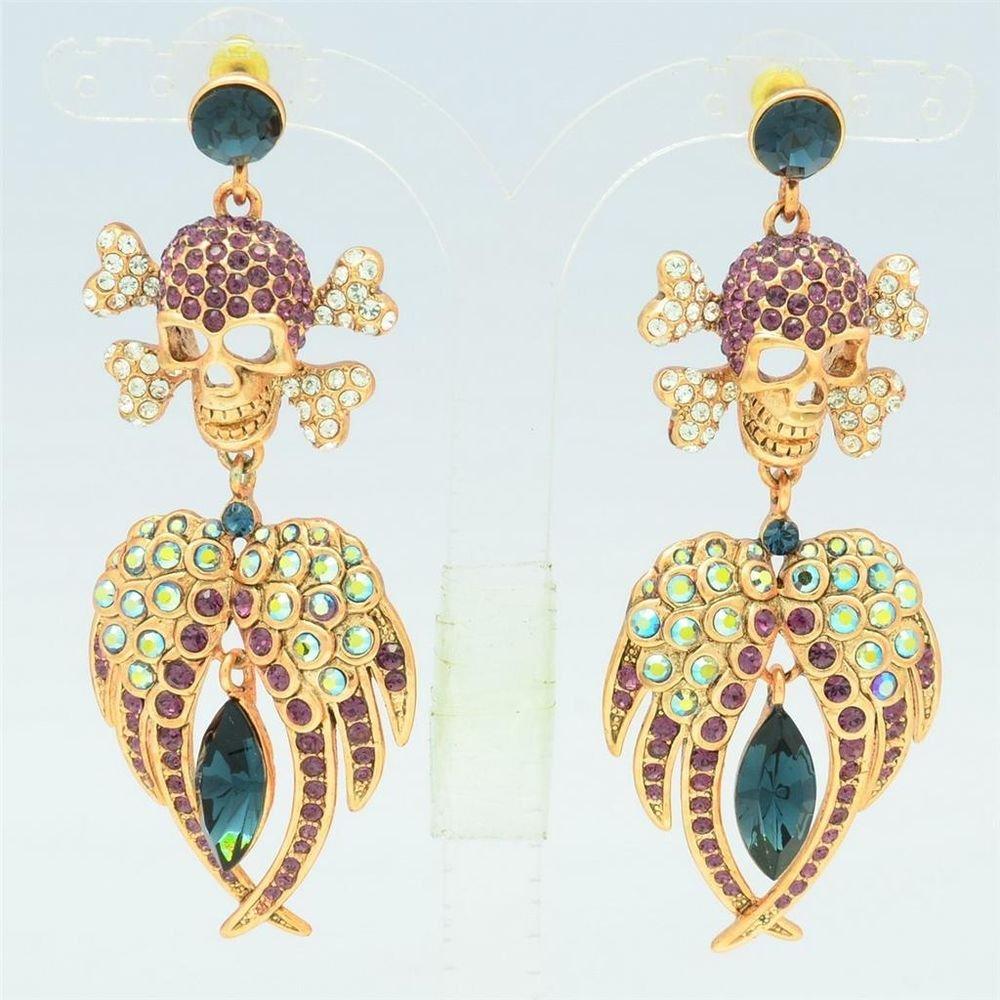 Swarovski Crystals Purple Jewelry Skeleton Skull Pierced Wings Earrings EA0860-2