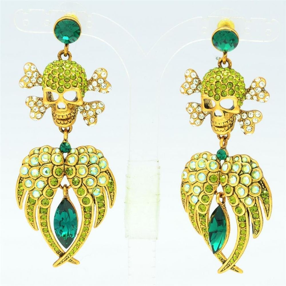 H-Quality Green Skeleton Skull Pierced Earring Wings Swarovski Crystal SEA0860-3