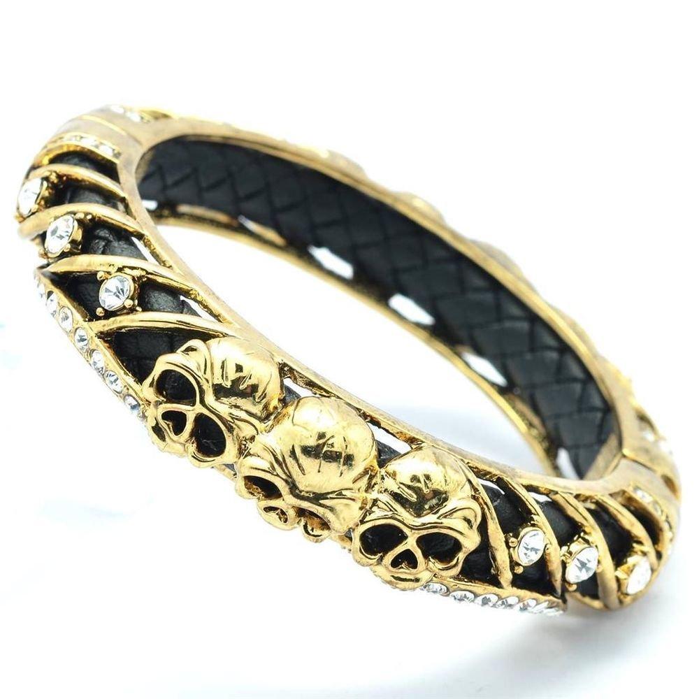 Clear Swarovski Crystals Black Leather Skull Bracelet Bangle Cuff Halloween