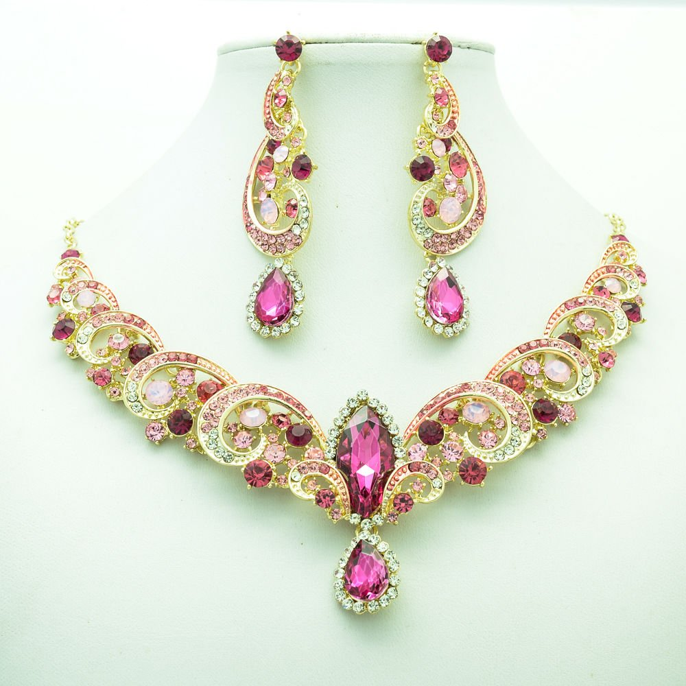 Prom Party Pink Rhinestone Crystal Flower Necklace Earring Jewelry Sets 6471