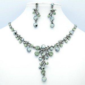High Quality Black Simple Floral Flower Necklace Earring Set Swarovski Crystals