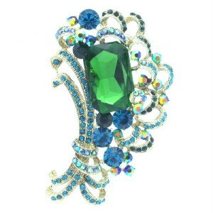 Flower Floral Square Bouquet Brooch Pin Green Rhinestone Crystal 6031