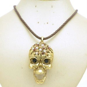 Vintage Brown Skeleton Pendant Skull Necklace Women Swarovski Crystals