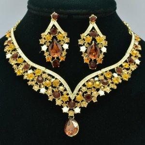 Showy Drop Flower Necklace Earring Set Brown Rhinestone Crystal NC-5535