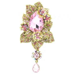 Pink Flower Leaves Brooch Broach Pendant Pin W/ Rhinestone Crystals 6176