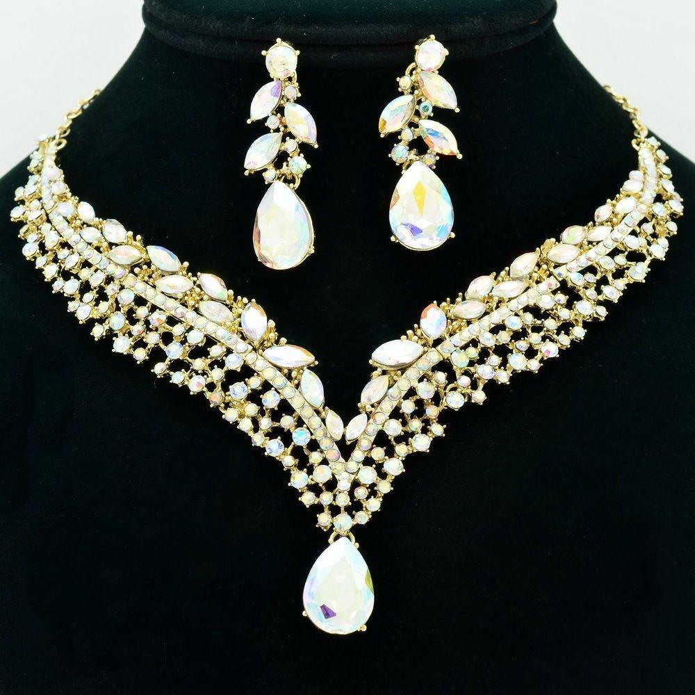 Bridal Wedding Flower Necklace Earring Sets Clear A/B Rhinestone Crystals 6116